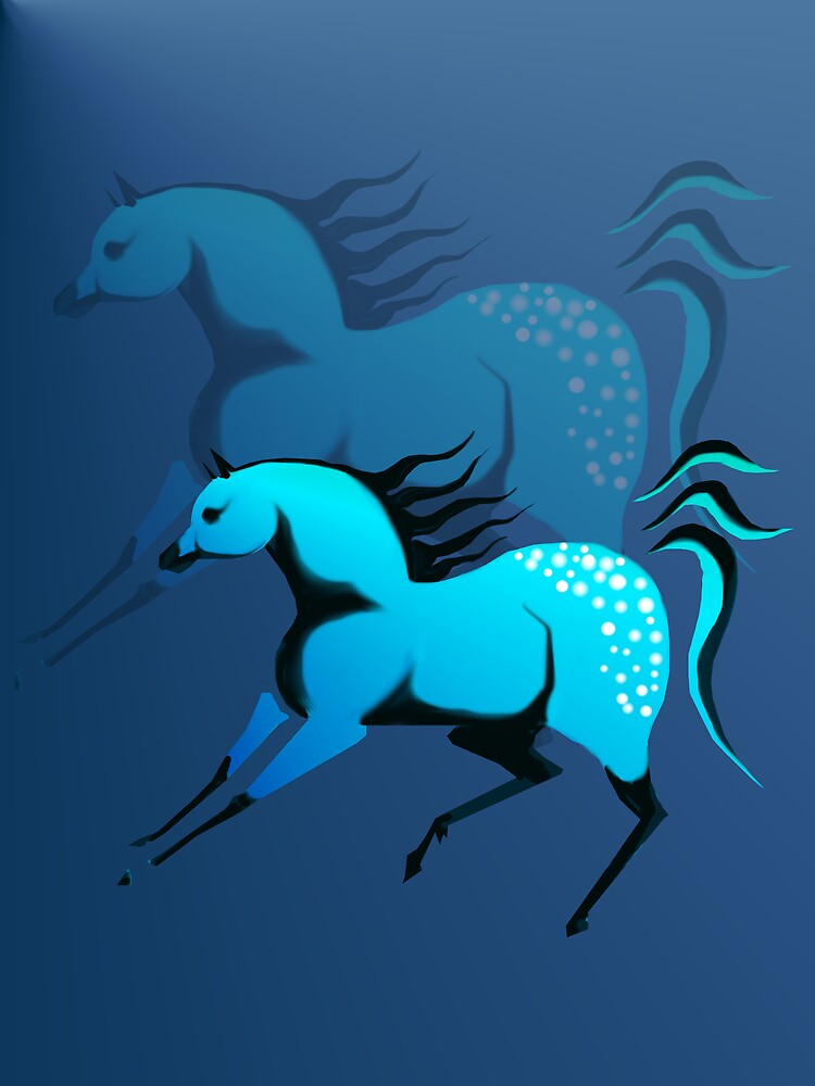 Two Spotted Turquoise Horses by Lotacats
