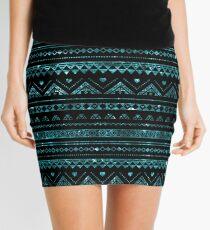 Aztec Black Tinsel Blue Mini Skirt