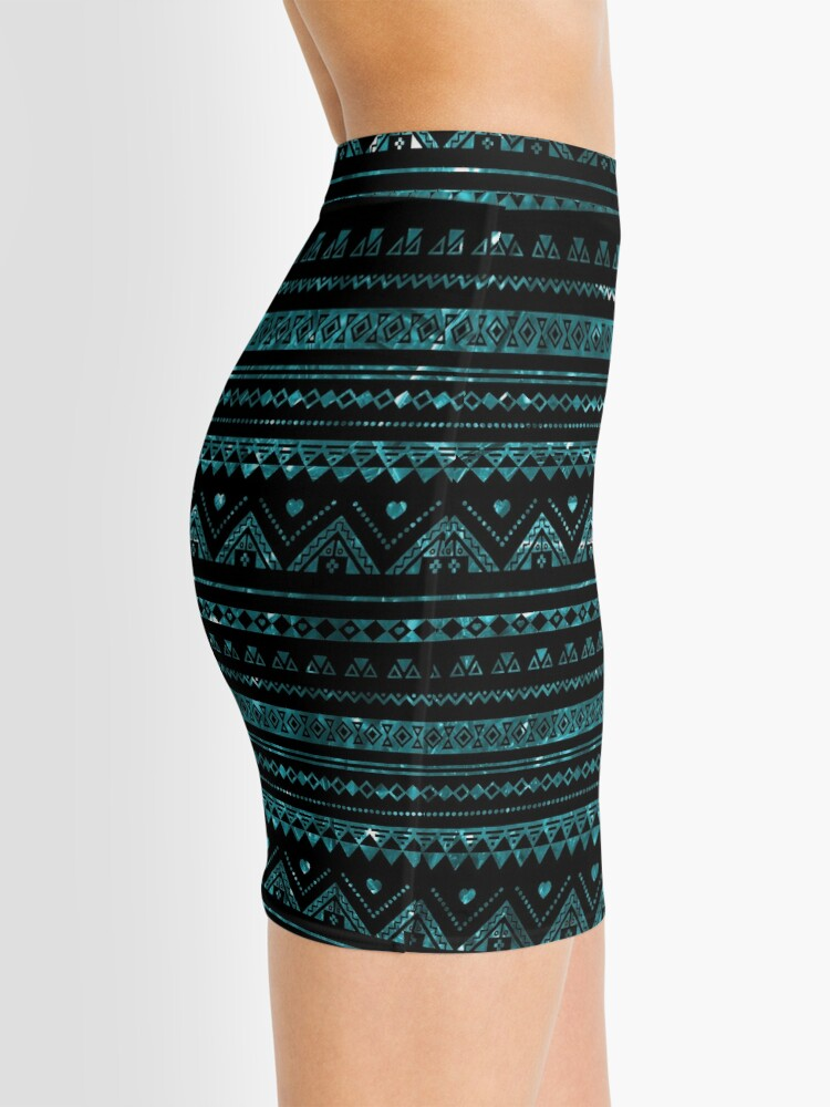 Alternate view of Aztec Black Tinsel Blue Mini Skirt