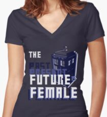 The Past-Present-Future Is Female (TARDIS) Women's Fitted V-Neck T-Shirt