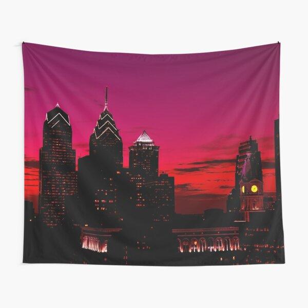 Philadelphia Skyline Sundown  Tapestry
