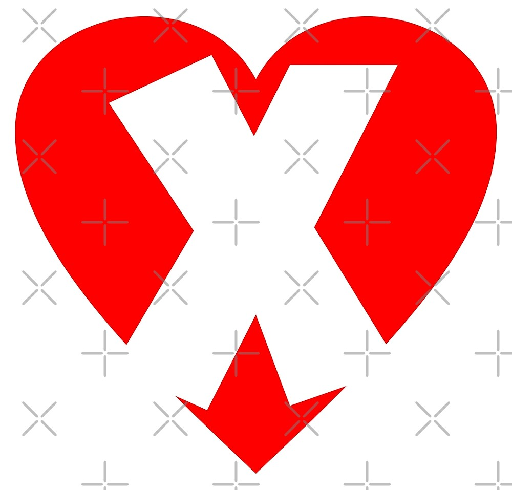 I love X - Heart X - Heart with letter X by theshirtshops