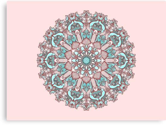 mandala#31 on pink background by kanvisstyle
