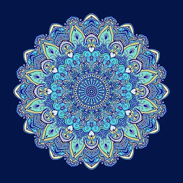 Blue and green mandala by kanvisstyle