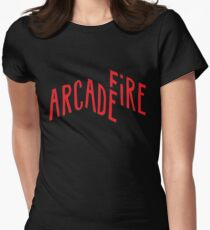 """Red Logo"" of Arcade Fire Women's Fitted T-Shirt"
