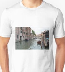 Canal in Venice, Italy, with boats and typical architecture  T-Shirt
