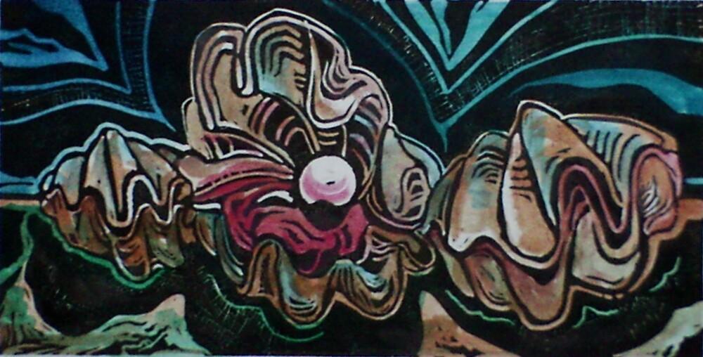 Giant Clams (Monoprint)- by Robert Dye