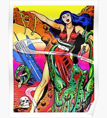 Science fiction comics cover, vintage fantasy poster Poster