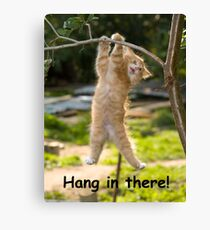 Hang in There Cat Poster - Perfect Funny Motivational Poster For Home or Office - Humorous Decor, Funny Quote Canvas Print