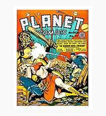 Space battle against hords from Mars, sci-fi comics, poster Photographic Print