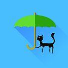 Black Cat and Green Umbrella by valeo5
