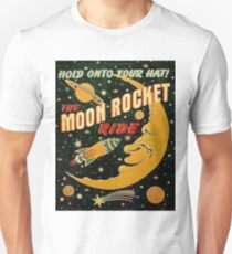 Moon rocket ride, funny space illustration poster T-Shirt