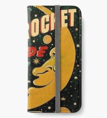 Moon rocket ride, funny space illustration poster iPhone Wallet/Case/Skin