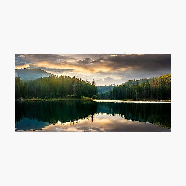 pine forest and lake near the mountain early in the morning Photographic Print