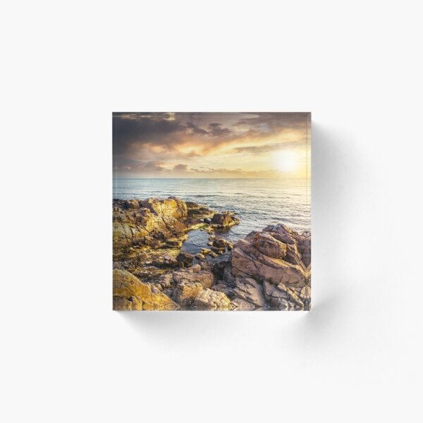 sea landscape on the rocky coast at sunset Acrylic Block