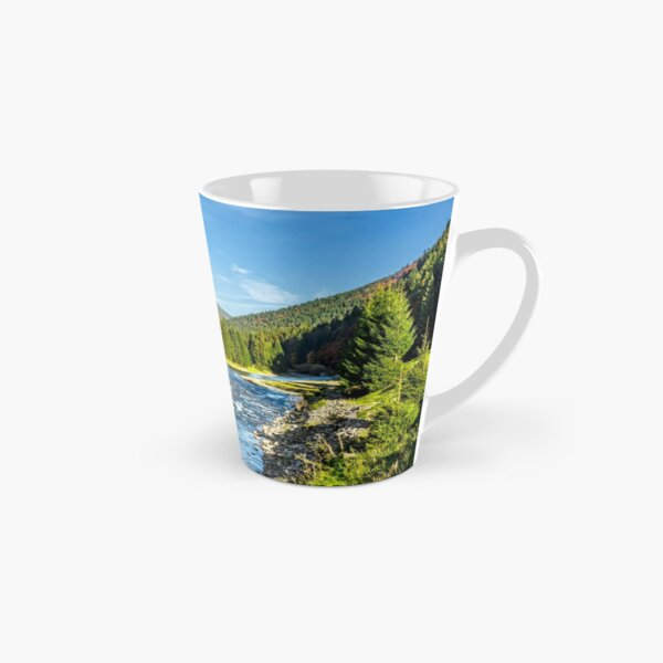 Mountain river among conifer forest Tall Mug