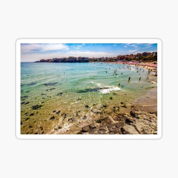 people at the sea beach of Sozopol Sticker