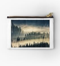 coniferous forest in foggy mountains Studio Pouch