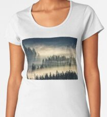 coniferous forest in foggy mountains Women's Premium T-Shirt