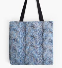 Blue Knit Cables Tote Bag