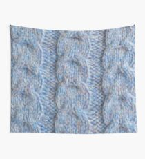 Blue Knit Cables Wall Tapestry