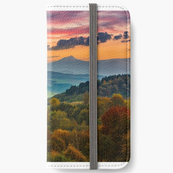 autumn forest on a  mountain hill at sunset iPhone Wallet