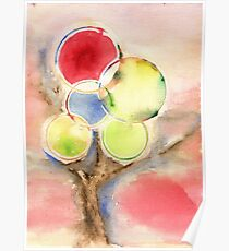 Abstract Tree Watercolors Poster