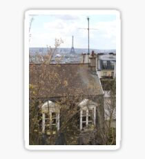 Views of the Eiffel Tower over Parisian rooftops Sticker
