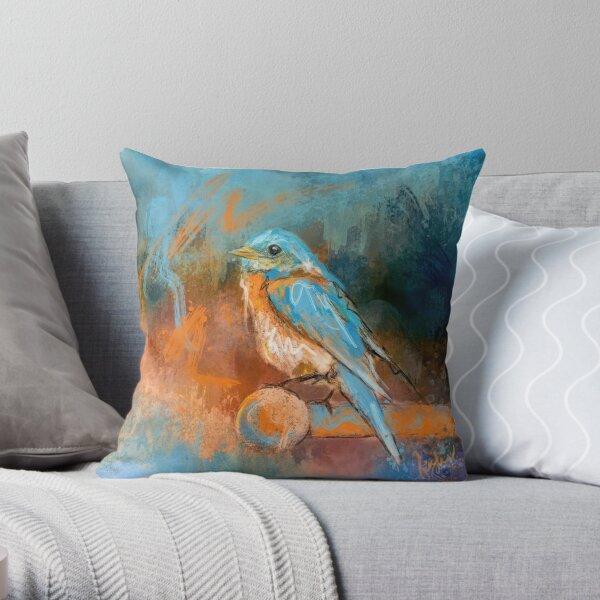 A Splash of Bluebird Throw Pillow