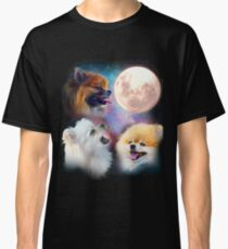 Pomeranian Dogs Howling Moon - Wolves Classic T-Shirt