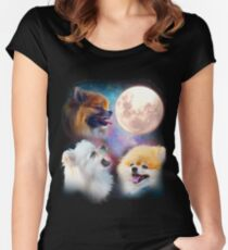 Pomeranian Dogs Howling Moon - Wolves Women's Fitted Scoop T-Shirt