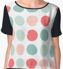 Joro - abstract painted dot pattern minimal polka dots nursery baby colorful  Women's Chiffon Top