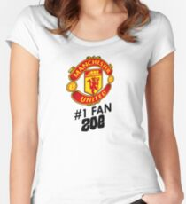 Manchester United #1 Fan - ZOE (Customize your own name!) Women's Fitted Scoop T-Shirt