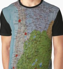 Map of South America with travel plan stickers Graphic T-Shirt