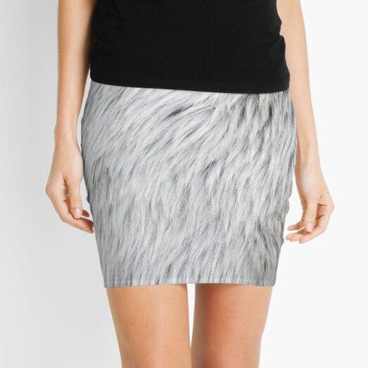 Close-up of grey faux fur Mini Skirt