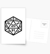 20 Gesicht Würfel Aufkleber D & D Postkarten