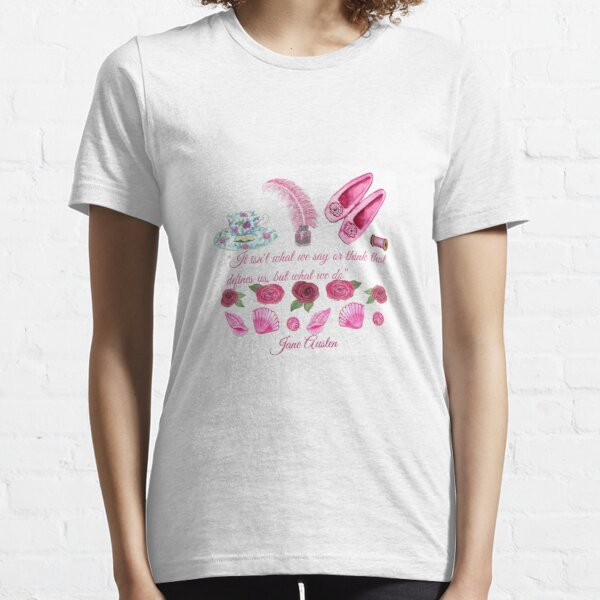 Jane Austen quote and shoes, pen and teacup  Essential T-Shirt