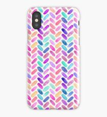 Rainbow Herringbone Watercolor Oblongs iPhone Case/Skin