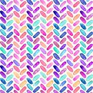 Rainbow Herringbone Watercolor Oblongs by micklyn