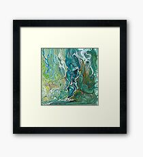 Poured acrylic paints green blues Framed Print
