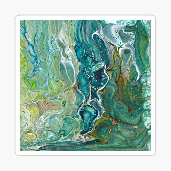 Poured acrylic paints green blues Sticker