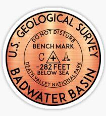 BADWATER BASIN DEATH VALLEY NATIONAL PARK GEOCACHING CALIFORNIA BENCHMARK BENCH MARK Sticker