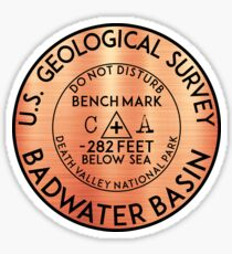 BADWATER BASIN DEATH VALLEY NATIONAL PARK GEOCACHING CALIFORNIA BENCHMARK BENCH MARK Sticker