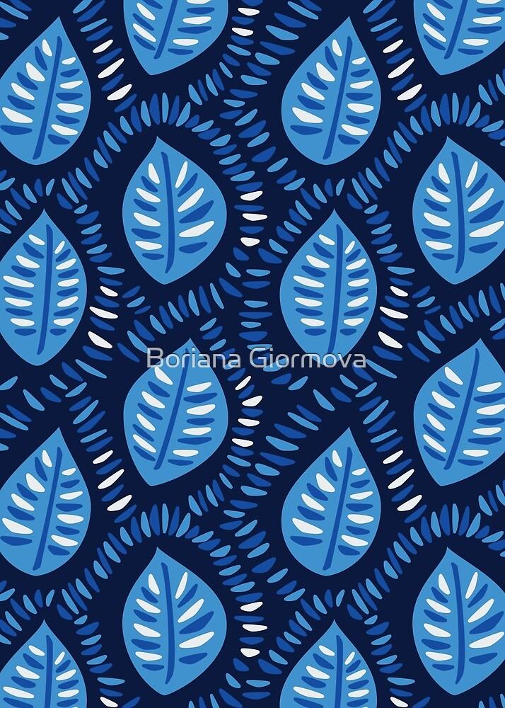 Pretty Decorative Blue Leaves Pattern by Boriana Giormova