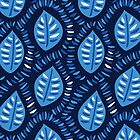 Pretty Decorative Blue Leaves Pattern by Boriana Giormova