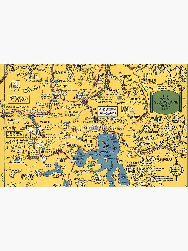 Vintage 1930 Yellowstone National Park map - special gift idea - gift for  mother, father gift, Christmas gift | Laptop Skin