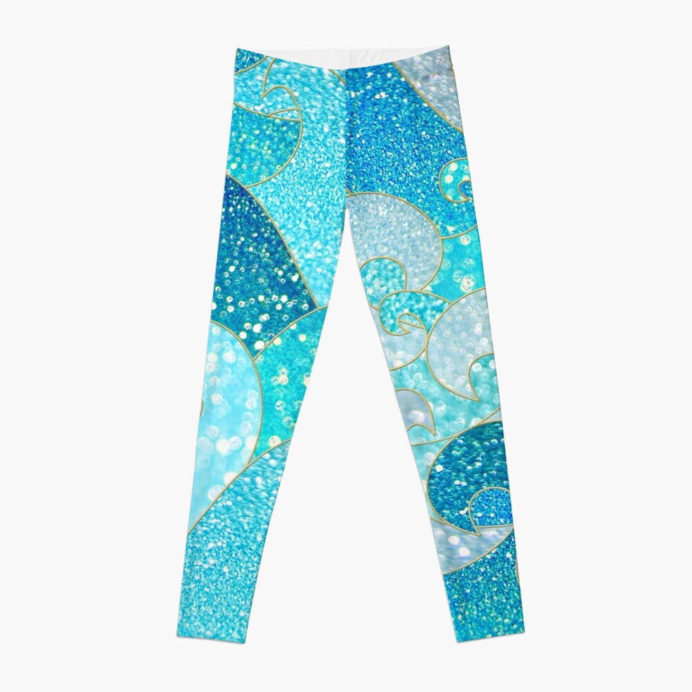 Teal, Silver and Blue Sparkle Faux Glitter Mermaid Waves Leggings