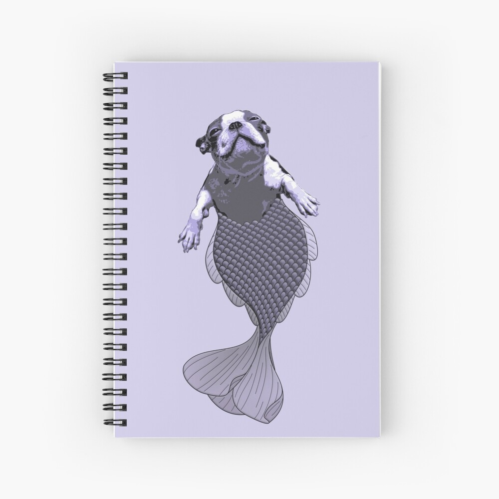 Lila the Boston Terrier Merpup Spiral Notebook