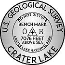 BENCHMARK CRATER LAKE OREGON GEOCACHING MOUNTAINS HIKING CLIMBING SILVER by MyHandmadeSigns