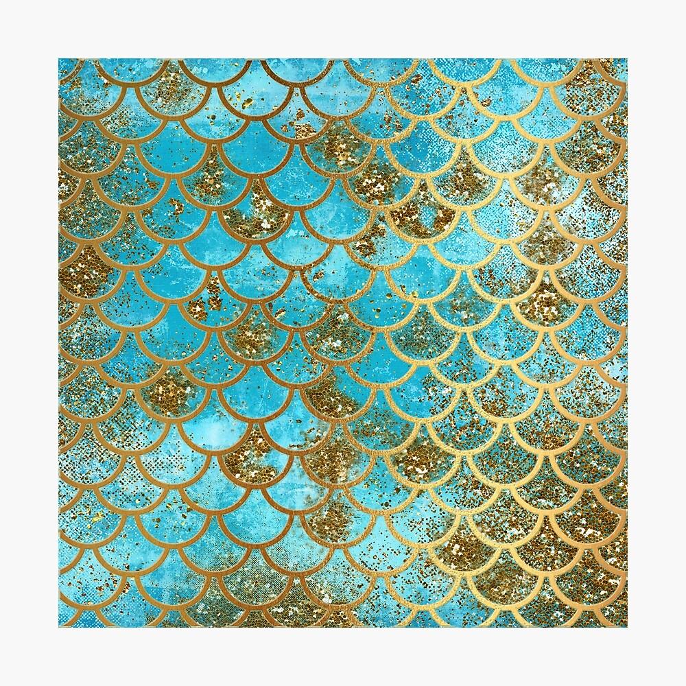 Teal, Gold Glitter und Blue Sparkle Faux Glitter Meerjungfrau Skalen Fotodruck